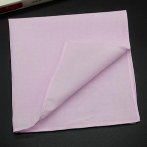 20pcs Solid Color Hankerchiefs 100 %Cotton Handkerchiefs Women Men 28cm *28cm Pocket Square Wedding Plain Diy Print Draw Hankies