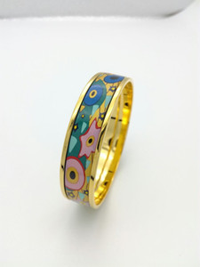 For Alice Series 18K gold-plated enamel bangle bracelet for woman Top quality bracelets bangles width 15 mm Fashion jewelry