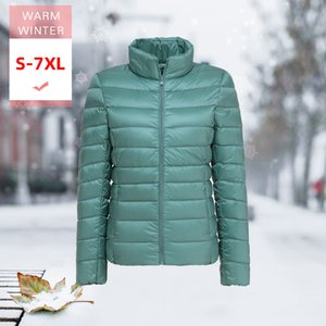 Wholesale S XL Autumn Winter Women White Duck Down Jacket Female ultra Light Slim Thin Windproof portable Warm Stand Collar Feather Coat