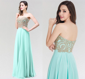 Wholesale Mint Green Long Sweetheart Chiffon Prom Dresses Sexy Backless Gold Appliques Chiffon Skirt Evening Dresses Formal Party Gowns CPS319