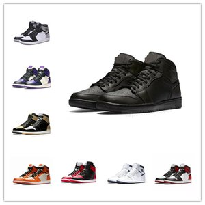 Wholesale With sport watch s Classic OG Basketball Shoes tumbled Genuine leather bred black red gym shoes mens women sneakers Michael Sports
