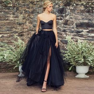 Wholesale Hot Sale High Slit Tulle Skirt Fashion High Waist Floor Length Maxi Long Skirts Womens Black Prom Skirt Custom Made Any Colors