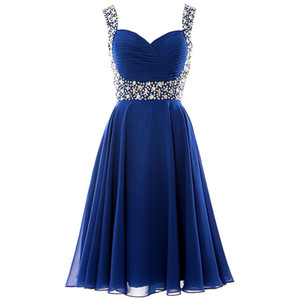 Wholesale 2019 Sexy Short A-line Prom Formal Party Dress Sweetheart Sleeveless With Beading Lace Up Homecoming Bridesmaid Party prom Gowns