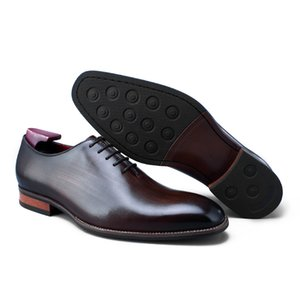 Wholesale Brown Black Handmade Designer Luxury Wedding Party Formal Business Brand Male Dress Genuine Calf Leather Mens Oxford Shoes