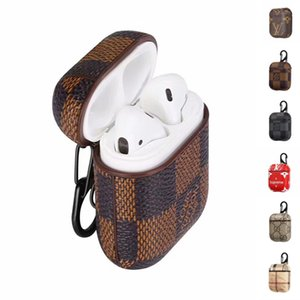 Wholesale Luxury PU Leather For Airpods Cases Protective Cover Hook Clasp Keychain Anti Lost Fashion Earphone Case Protector For gifts