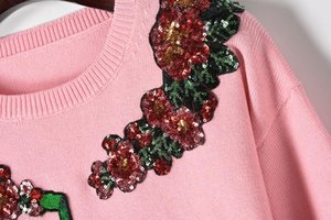 Wholesale Fashion Shipping Pink Green Monkey Embroidery Crystals Pullovers Women Brand Same Style blusas de inverno feminina DH0122