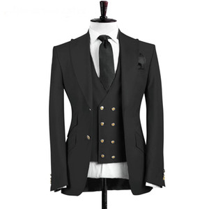 Wholesale suit vests resale online - 2019 Slim Fit Peaked Lapel Black Business Mens Suit Best Man Groom Wedding Suits for Men Pieces Prom Tuxedo Jacket Vest Pants
