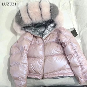 Wholesale LUZUZI Natural Fox Fur Collar Real Fur Coat Winter Jacket Women Loose Short Down Coat White Duck Down Jacket Thick Warm SH190913