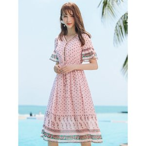 Wave dot dress 2019 summer brand new women's horn sleeve a character skirt temperament lady print skirt 63252