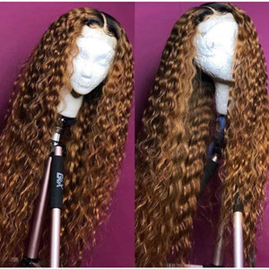 Wholesale Ombre Curly Full Lace Wig Blonde Two Tone Color b Brazilian Full Lace Front Human Hair Wigs Kinky Curly With Baby Hair