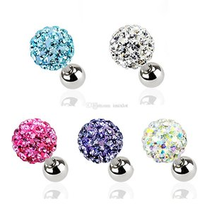 Wholesale 1Set Pairs mm mm mm Crystal Ball Ear Nail Bone Barbell Stud Earrings Helix Tragus Ear Cartilage Piercing Body Jewelry Free
