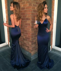 Wholesale Sexy Navy Blue Prom Dresses Free Shipping Spaghetti Straps Backless Sweep Train Mermaid Formal Occasion Evening Dresses