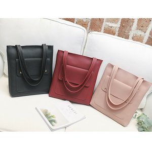 Wholesale Nice Fashion Women Soft Leather Handbag Simple Shoulder Bags Black Red Large Capacity Handbags Tote Bags Pop Tide
