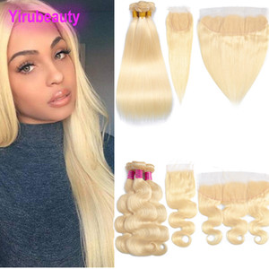 Brazilian Virgin Hair 613 Color Straight 3 Bundles With 4X4 Lace Closure Body Wave Bundles With 13X4 Lace Frontal Peruvian Human Hair Blonde