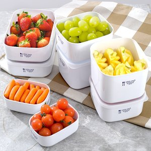 Wholesale White Multi Size Bento Box Fruits Fresh Keeping Lunch Case Plastic Dinner Pail Sealed Portable Non Slip Hot Sale oxb1
