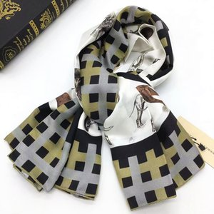 Wholesale High qualtiy brand Womens scarf twill silk scarf fashion print lettes dog plaid pattern square Scarves Size cm cm