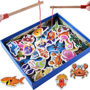 Wholesale Baby Toys Magnetic Fishing Educational Fishing Game Wooden Toys Child Birthday Christmas Gifts Child Educational Toy
