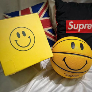 Wholesale basketball balls for sale - Group buy Hot selling Smiley New York Chinatown market basketball size yellow smile face Indoor outdoor training game basketball ball
