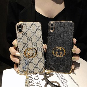 Wholesale For iphone plus X XR XS MAX luxury designer phone cases Hand rope anti drop design plating gold high quality Fashion Phone Back Case