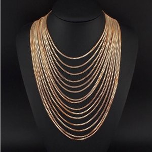 Wholesale New European and American fashion trend environmental protection alloy necklace multi layer personality exaggerated Metal Necklace Jewelry