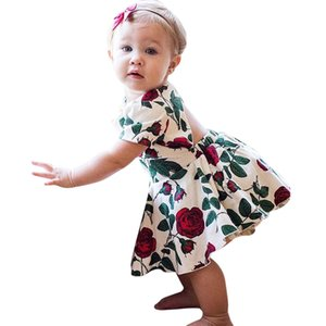 Wholesale Baby Girls Dress Newborn Toddler Kids Floral Back Hole Dress Baby Bloomers Outfits Sundress Photo Color
