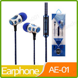 Wholesale New arrival earphone universal mm in ear earphones braided ear phones headset headphone with mic Earbuds For Samsung iPhone HTC huawei