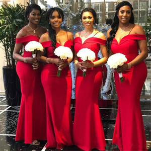African Red Mermaid Bridesmaid Dresses 2019 Newest Off The Shoulder Floor Length Long Wedding Gowns Party Dress Robe de soiree