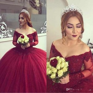 Wholesale Gorgeous Sheer Lace Burgundy Evening Dresses Long Sleeve 2019 Puffy Ball Gown Beading Appliques Plus Size Sweet 16 Girls Prom Quinceanera