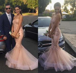 Gorgeous Mermaid Lace Prom DressesMiddle East Saudi Arabia Nude Pink Women Long Evening Dress Formal Gown Classical on Sale