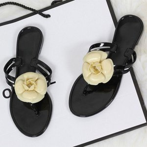 Nis Summer Jelly Shoes Woman Flip Flops Beach Slippers Camellia Flower Clip Toes Slippers Ladies Waterproof Casual Flat Shoes