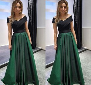 Wholesale Emerald And Black Formal Prom Dresses Off The Shoulder Short Sleeve Pleats Ruched Satin Evening Gowns Dresses Evening Wear Long Party Dress