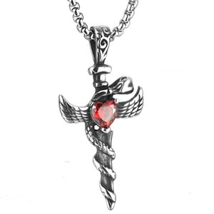 Wholesale Euramerican Titanium steel red rhinestone heart shape cross pendant for Men retro wing sword pendant necklace boy jewelry gift