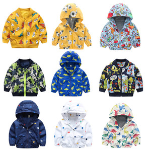 Wholesale Infant Unisex Dinosaur Printed Jackets 10+Baby Baseball Uniform Boy Zipper Cotton Jacket Cartoon Dinosaur Printed Casual Hooded Outwear 1-6T