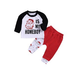 Wholesale Mikrdoo Newborn Toddler Baby Boy Christmas Clothes Set Santa Print Long Sleeve Top Pant Cotton Outfit Clothing Sets