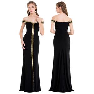 Angel-fashions Women's Off Shoulder V Neck Floor Length Black Formal Gown Party Dresses Evening Prom Dress 398