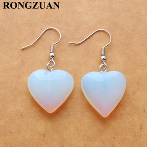 Wholesale Natural Opal Gemstone Dangle Earrings Cute Heart Pendant Beads Drop Earring Girls Women Party Wedding Hanging New Fashion Jewelry DR3288