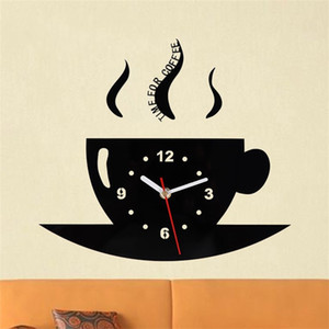 Wholesale Diy Coffee Cup Acrylic Wall Clock Black Digital Kitchen Bedroom Living Room Decorate Glass Creative Quartz Clock ksD1