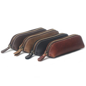 Wholesale pencil handmade pen for sale - Group buy Handmade Genuine Leather Pencil Case Vintage Cowhide Zipper Pencilcase Pen Bag Office Stationery School Supplies