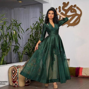Wholesale 3 4 Long Sleeve Prom Dresses 2019 Hunter Green Lace Applique Ankle-length Dubai Kaftan Long Abendkleider Abiye Evening Party gown