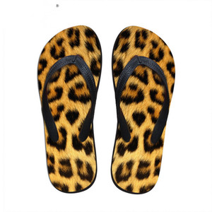 Wholesale Customized Fashion Women Summer Home Beach Rubber Flip Flops Leopard Pattern Female Flat Slippers Ladies Girls Sandals Shoes