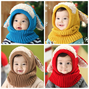 Cute Winter Children's Bib Puppy Shawl Super Soft Wool Baby Earmuffs For Baby Boys Girls one-piece scarf caps Newborn Photography C786