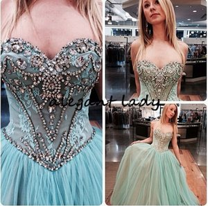 Wholesale Special Occasion Sky Blue Ball Gown Prom dress Sequined Beaded Sexy Graduation vestido longo festa 2019 Evening Pageant Dresses