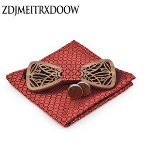 Wholesale ZDJMEITRXDOOW wooden bow Tie set and Handkerchief Bowtie Necktie Cravate Homme Noeud Papillon Man Corbatas Hombre Pajarita C19011001