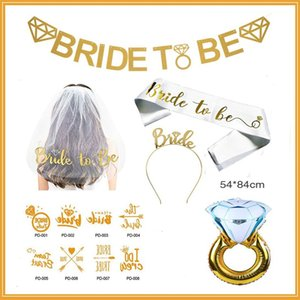 Wholesale Bride To Be Letter Shoulder Strap Metal Head Hoop Veil Bachelorette Party Decoration Golden Diamond Ring Decor Suit hzD1