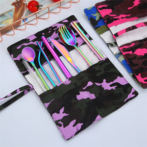 New 304 stainless steel knife fork spoon chopsticks straw spoon 9 piece environmental protection portable outdoor tableware set T3I5162 on Sale
