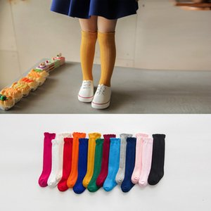 Wholesale YWHUANSEN 1 Pair Spring Autumn Winter Cotton Lace Double Needle Children Breathable Socks Solid Baby Girls Knee Socks School SH190916