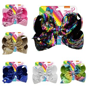 Wholesale 8 inch JOJO Glitter Mermaid Sequin Big Bow Hairpin Baby Girls Gradient Paillette Barrettes Kids Bling Hair Clip Hair Accessories C6784