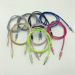 Wholesale shielded headphone cable resale online - Metal Fabric Braid Audio Aux Car Extension Cable mm male to male For Headphone Speaker cellphone compute