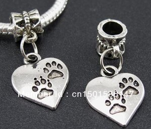 Wholesale Antique Silver Charms Dog Paw Prints Heart Pendants For Bracelet Necklace Jewelry Making DIY Findings Accessories Z208