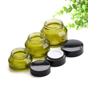 Wholesale cosmetic jars black lids for sale - Group buy g g g Olive Green Cosmetic Glass Bottles Containers Skin Care Empty Cream Jars With Black Lids